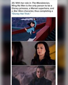 "With her role in The Mandalorian, Ming-Na Wen is the only person to be a Disney princess, a Marvel superhero, and a Star Wars character, thus completing a ""Disney Hat Trick. Marvel Jokes, Marvel Funny, Fandoms Unite, Disney Love, Disney Magic, Katy Perry, Ming Na Wen, Funny Memes, Hilarious"