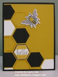 Greeting card from Smiles, Laura ... beehive theme with hexagons ... die cuts diagonally down half the card ... some fill with ones embossed with the embossing folder before cutting ... luv it! ... Stampin' Up!