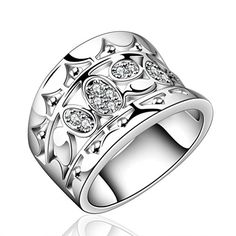 * Penny Deals * - HMILYDYK Fashion Jewelry Beautiful Swarovski Elements Crystal Sterling Silver plated Ring For Women Lady Girls 925 ** You can find out more details at the link of the image.