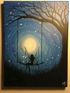 Fairy acrylic painting Unknown Unknown Unknown Unknown Unknown Water color on canvas This artwork reminds me of Starry Night. The blending of the blues and yellow moon makes this appealing to look at. There are fascinating swirls with bright white stars. Wow Art, Silhouette Art, Fairy Art, Oeuvre D'art, Faeries, Painting Inspiration, Painting & Drawing, Swing Painting, Painting Canvas