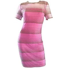 Preowned Beautiful Vintage Oleg Cassini 1990s Pink + Silver Silk... ($1,050) ❤ liked on Polyvore featuring dresses, cocktail dresses, pink, vintage dresses, vintage cocktail dresses, silver cocktail dress, pink dress and short-sleeve dresses