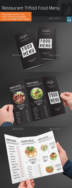 Food Menu Information: Photoshop File (.psd) File size 8.5x11 inches 0.25 inches bleed Easy to Customizable 300 DPI Resolutions Re