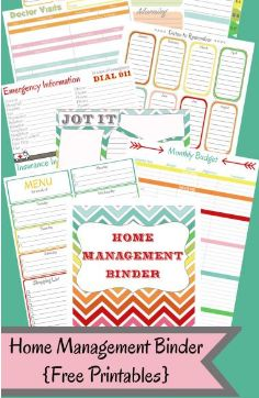 Go to DIY Home Sweet Home to download this free home management binder. You'll find over 20 pages of free printables to help you organize you home!