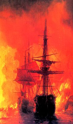 translucentmind:   Battle of Chesma // Ivan Aivazovsky