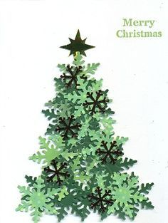 Paper Christmas tree made with snowflake punch and different shades of green paper. – from Cards and Paper Crafts at Splitcoaststampers – Desirees Tree by scootsv – Paper Christmas tree… Beautiful Christmas Cards, Handmade Christmas Cards, Christmas Cards To Make, Cricut Christmas Cards, Creative Christmas Cards, Painted Christmas Cards, Chrismas Cards, Handmade Christmas Decorations, Different Shades Of Green