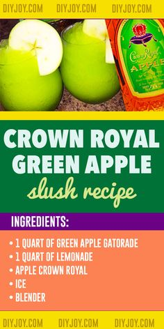 Crown Royal Cocktail Recipes - Crown Green Apple Slush Recipe With Ingredients for a Frozen Drink Made With Crown's New Flavor - Frozen Slush With Alcohol Recipe - Easy Drinks for Parties via @diyjoycrafts Party Drinks Alcohol, Liquor Drinks, Alcohol Drink Recipes, Party Food And Drinks, Holiday Drinks, Slush Recipes, Frozen Drink Recipes, Vodka Recipes, Frozen Drinks