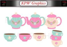 Teapots and Cups Clip-art Set in a PNG format. Personal & Small Commercial use Teapots And Cups, Png Format, Clipart Images, Tea Pots, Commercial, Clip Art, Invitations, Digital, Unique Jewelry