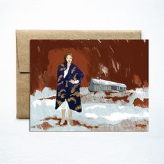 Woman in coat card  | Ferme à Papier