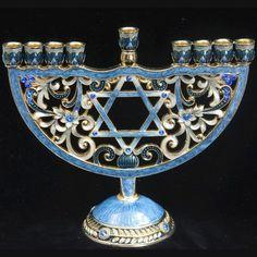 "Menorah - Jeweled, star, 6.5"""
