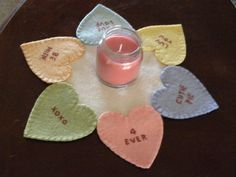 wool/woolfelt candle mat Pattern by primitivestitchesmo on Etsy, $8.00
