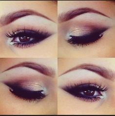 brown smokey eye with white highlights