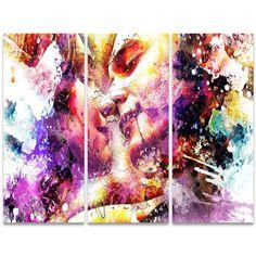 First Kiss Abstract Canvas Wall Art Print