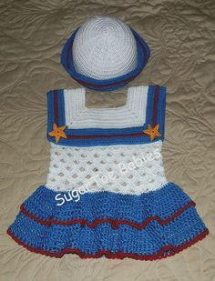 Baby Girl Sailor Dress and Hat 18 to 24 mo by SugarToeBabies