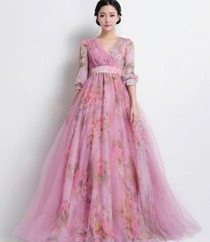 4fc45c77ba26 SALE Bohemian Long-sleeve Pink Tulle Floral A-line Maxi Dress Wedding  Bridesmaid Full Pleated Skirt Holiday Party Ball Gown Day Prom Evening
