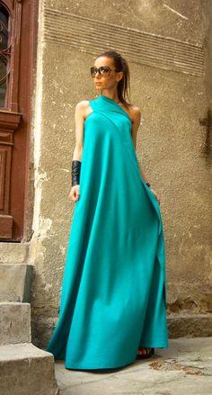 e6b5da7fd8f Hot Summer Maxi Dress Pine Green Linen Dress   One Shoulder