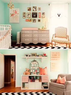 soft aqua, peachy pink, gray color combo. Chevron and feminine detail. Color ideas....peachy pink with guest bed comforter?