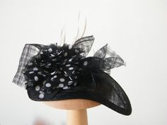 elegant black and white cocktail hat black summer by RanaHats