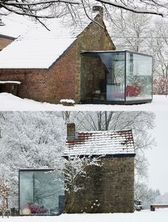 house with glass extension snow