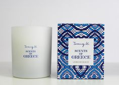 """Green Blu - """"TOMMY K."""" Scents of Grecce scented candle Lemongrass"""