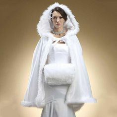 Winter Bridal Cape Wedding Cloaks Shrug Hooded White Ivory Short Wraps Jackets #CloaksCapes