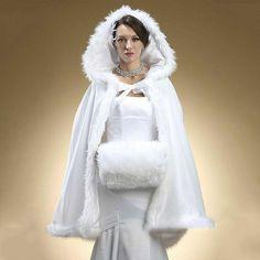 2016 Faux Fur Bridal Bolero Hooded Bridal Cape Wedding Jacket for Winter Wedding Cloak Cape White Ivory Champagne(China… Winter Maternity Outfits, Winter Mode Outfits, Winter Outfits Women, Winter Fashion Outfits, Fashion Dresses, Wedding Cape, Wedding Jacket, Bridal Cape, Wedding Gowns