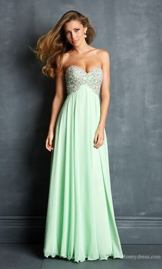 Embellished Long Chiffon A-Line Natural Evening Dresses Cheap bonny35234
