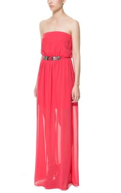 LONG DRESS WITH APPLIQUÉ AT THE WAIST from Zara TRF $59.90