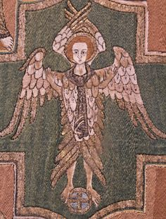 Seraph Detail from the Syon Cope in the Victoria and Albert Museum. This fine example of English medieval embroidery dates to c.1300-20.   https://farm8.staticflickr.com/7107/7567076392_670c46fd10_h.jpg