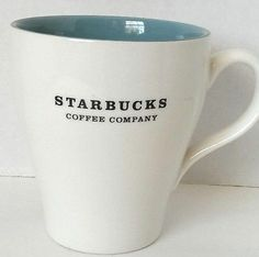 Starbucks Coffee Mug Cup Blue Teal White 2007 13 FL oz Black Lettering | eBay