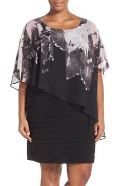 Adrianna Papell Print Capelet Banded Jersey Dress (Plus Size) available at #Nordstrom