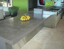 Traditional Brown Concrete Kitchen Countertop With Under Mount Sink Concrete Countertops