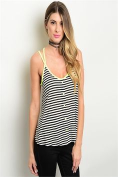 Striped Tank with Lime Straps