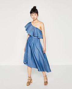 Image 1 of DENIM DRESS WITH ASYMMETRIC FRILL from Zara