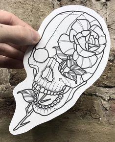 Traditional Tattoo Outline, Skeleton Face, Tattoo Portfolio, Rose Tattoos, Old School, Tatting, Portfolio Ideas, Outlines, Sketchbooks