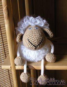 Little Sheep crochet. I can probably DIY this cute little shelf sitter.