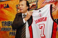 Jaworski's No. 7Former Senator Robert jaworski  no.one basketball  player of Ginebra San Miguel.