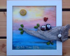 Love nest, hand painted pebble art in frame, by Ni Yan, August 2016, all rights reserved