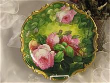 CLASSIC LIMOGES FRENCH TEA ROSES ANTIQUE PLAQUE by DUVAL Vintage Victorian Floral Art Charger c1900 China Painting by Famous French Artist Duval Original Completely Handpainted Handmade Artistry CLASSICAL FRENCH STILL LIFE OF PINK TEA ROSES