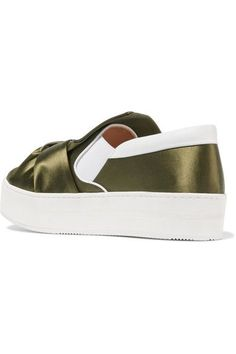 No. 21 - Knotted Satin Slip-on Sneakers - Army green - IT38.5