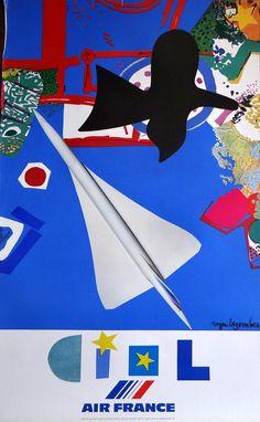 grande affiche plastifiée CIEL dAIR FRANCE le CONCORDE de Roger Bezombes éditée en 1981 aucun défaut, pas de traces de punaises, trous etc...