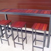 furniture long narrow high top metal wood combo outdoor bar table