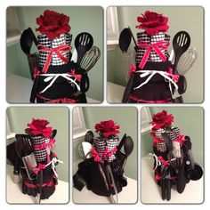Great gift/centerpiece for wedding shower. I took a Jack Daniels bottle and wrapped/glued black yarn all the way around it. I then covered this 'vase' with a 17 piece kitchen utensil kit as well as some washcloths, oven mitts, and pot holders. Everything was from their registry. I just tied it all on with matching ribbon and topped it off with a fake flower.