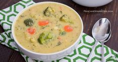 Delicious vegan broccoli cheese soup in a bowl