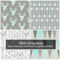 Mint and grey crib bedding set