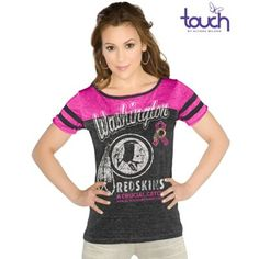Touch by Alyssa Milano Washington Redskins Ladies BCA All Star Slim Fit Shirt - Charcoal/Pink