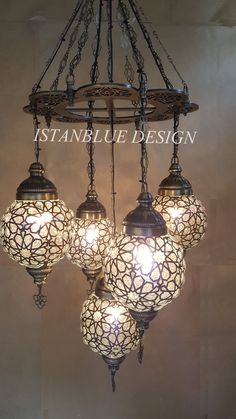 Stunning Ottoman Style Turkish Blown Glass Chandelier 5 Globe