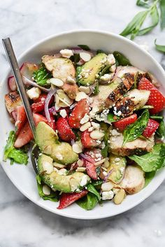 Strawberry and Avocado Spinach Salad with Chicken ; balsamic vinegar ; tarragon ; feta ; red onion ; healthy