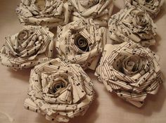 craft, music notes | 10 Vintage sheet music paper roses-rolled roses-craft supply roses ...