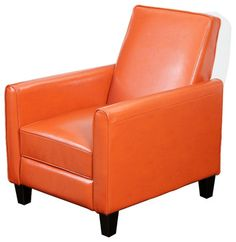 small leather club chair  | Jamestown Orange Leather Recliner Chair transitional armchairs