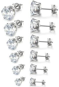 19f5d5769 Besteel Womens Stainless Steel Stud Earrings Set Hypoallergenic Pierced  Cubic Zirconia 6 Pairs 3-8mm